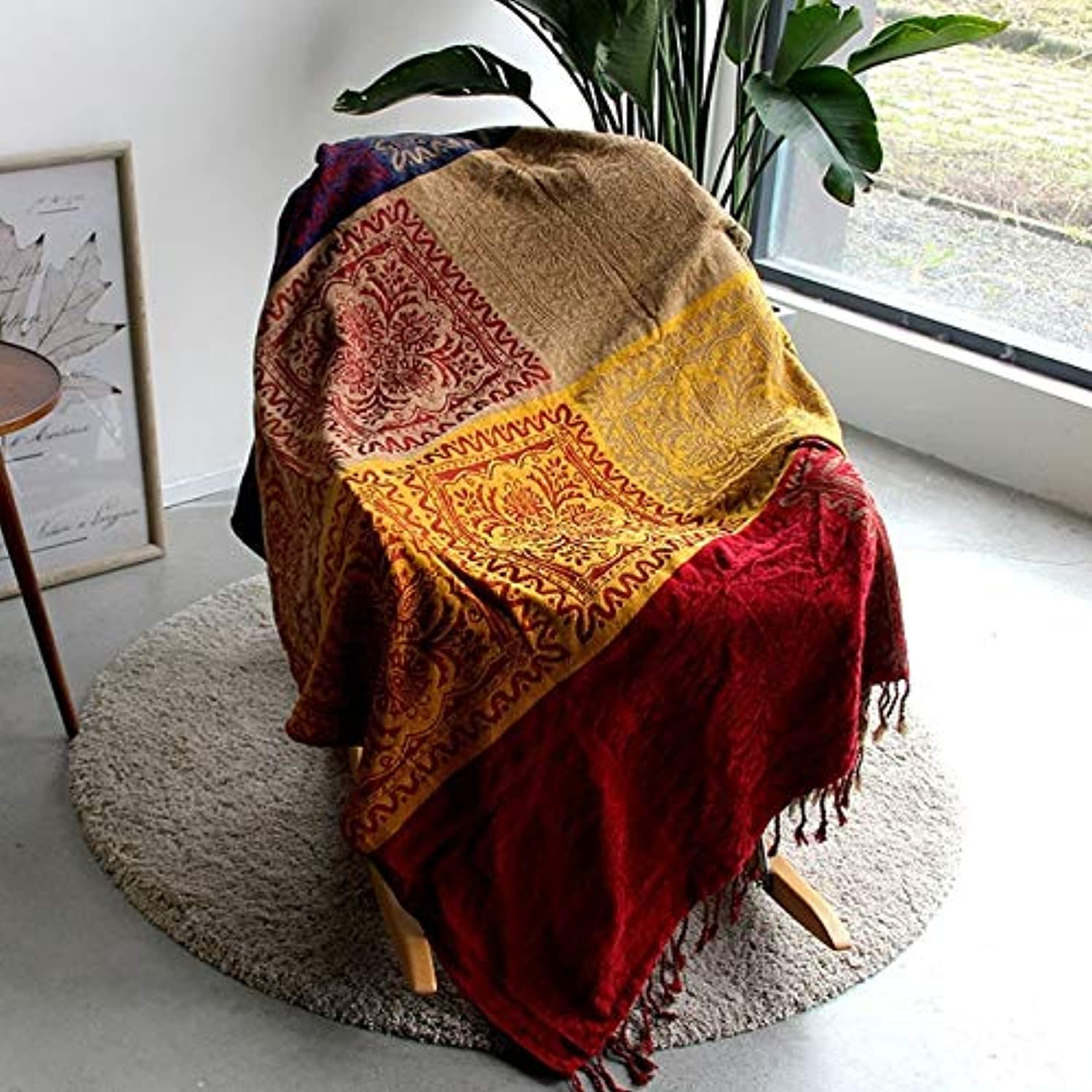 KWELJW 5 Couleurs Couleurful Bohemian Chenille Plaids Blanket Sofa Decorative Throws on Sofa Bed grand Cobertor Blanket with Tassel T176 150x190cm 1-100D