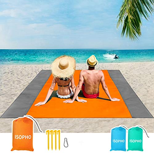 Best beach blanket - ISOPHO Beach Blanket, 79''×83'' Beach Blanket Waterproof Sandproof for 4-7 Adults, Oversized Lightweight Beach Mat, Portable Picnic Blankets, Sand Proof Mat for Travel, Camping, Hiking, Packable w/Bag