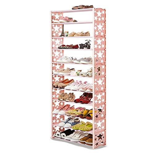 hkwshop Shoe Rack 11 Tier Shoe Rack Extendable Stackable Storage Shelves Shoe Tower Shelf for Hallway Bathroom Living Room and Corridor Shoe Tower Shelf (Color : Pink, Style : A)