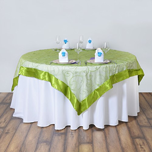 BalsaCircle 60x60-Inch Sage Green Organza Table Overlays - Wedding Reception Party Catering Table Linens Decorations