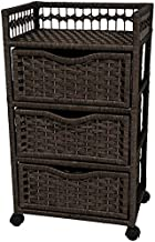 Oriental Furniture 31 Natural Fiber Chest of Drawers on Wheels - Black