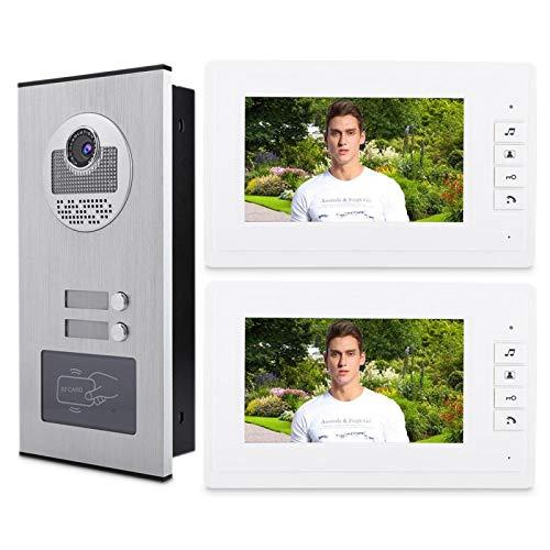 Videocamera per citofono con videocitofono HD da 7 pollici con 1 telecamera con due monitor Videocitofono/telecamera a infrarossi (Ue)