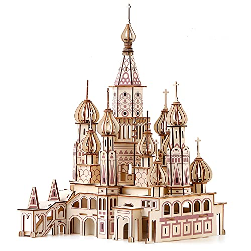 Wooden 3D Puzzle Cathedral for Adults or Teens, St.Basil Cathedrale Russian, Laser Cutting, Self-Assembly, DIY Building Models Kits, L: 16,14