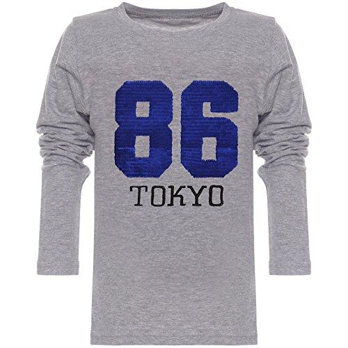 BEZLIT Jungen Langarmshirt Wende-Pailletten 86 Long T-Shirt 21730 Grau Größe 104