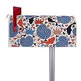 BANJADO US Mailbox   Amerikanischer Briefkasten 51x22x17cm   Letterbox Stahl weiß   mit Motiv Koi Teich   inklusive silbernem Ständer
