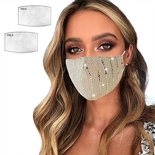 Sparkly Mesh Face Mask Reusable Face Bandanas Decorative Halloween Nightclub Costume Party Masks for Women (#Gold)