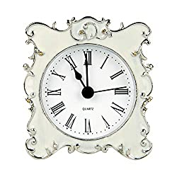 NIKKY HOME Pewter Pretty Small and Cute Vintage Table Clock with Quartz Analog Crystal Rhinestone 3 Inch for Living Room Bathroom Decoration , White Enamel