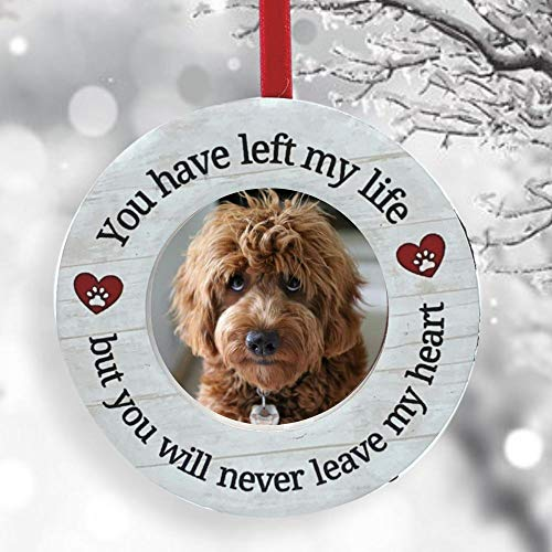"""BANBERRY DESIGNS Pet Memorial Ornament – You Have Left My Life But You Will Never Leave My Heart - Paw Print and Heart Design – 2"""" Picture Photo Opening - Easel Back Small Desktop Frame"""