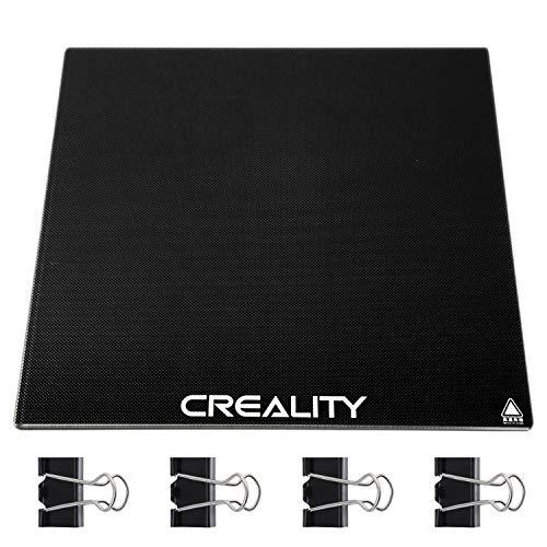 Creality Ender 3 Glasplatte,3D Drucker Plattform,3D Drucker Glasplatte,Druckplatte 3D Drucker Glasplattform Platte Mikroporöser Beschichtung glasplatte druckbett mit 4 Clips - 235 x 235 x 4 mm
