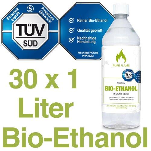 Bioethanol 96,6% – 30 x 1L Flaschen zum handlichen Gebrauch - TÜV geprüfte Reinheit, Qualität, Sicherheit & nachhaltige Herstellung - Made in Germany