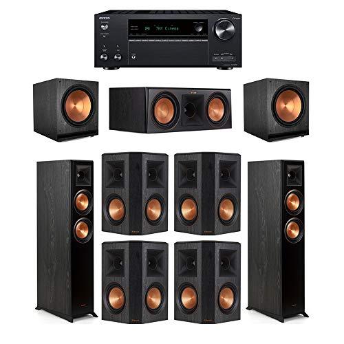 Find Discount Klipsch7.2 Ebony System - 2 RP-5000F,1 RP-600C,4 RP-502S,2 SPL-150,1 TX-NR797 Receiv...