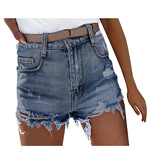 Briskorry Short en jean pour femme - Taille haute - En denim de qualité supérieure - Avec poches