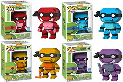 Funko Pop Neon 8 Bit Teenage Mutant Ninja Turtles Set of 4: Leonardo, Donatello, Raphael, Michelangelo Shop Exclusive