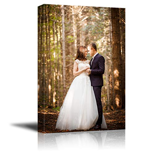 """SIGNFORD 24""""x16"""" Custom Canvas Prints, Wedding Personalized Poster Wall Art with Your Photos Wood Frame Digitally Printed"""