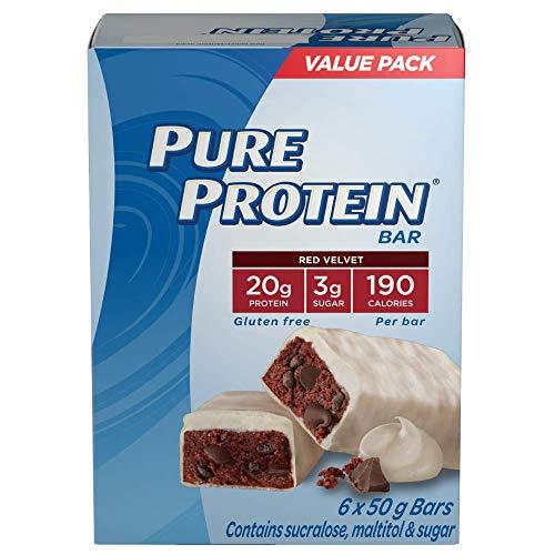 Pure Protein Bars, Gluten Free, Snack Bars, Red Velvet, 50 gram, 6 Count