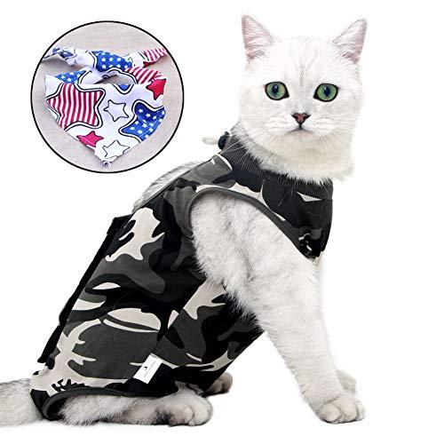 Recovery Suit Katze,Postoperative Katze-Kleidung für Genesung Unterleibsschutz für Wundvernarbung oder Hautkrankheiten, Kleidung nach der Operation (M, Camouflage)