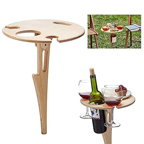 Mesa de Vino al Aire Libre Plegable,Mesa de picnic para vino al aire libre,soporte para copas de vino para camping,Mini Mesa de Vino de Madera portátil,Mesa de Playa plegable