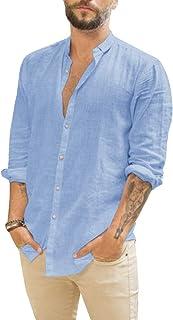 Makkrom Mens Linen Button Down Shirt Long Sleeve Casual Cotton Hippie Beach Wedding Shirts