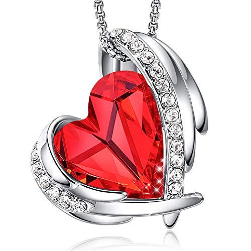 Colliers en or rose pour femmes avec pendentifs cœur embellis avec des cristaux de colliers bijoux cadeau de fête des mères pour femmes filles CDE (Argent/Rouge)