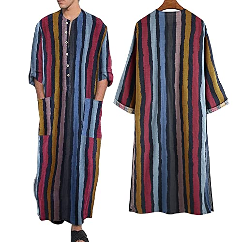 ZZAL Schlafkleid männer Herren mit Taschennachthemd Muslimische Bedruckte Robe Nachthemden Langarm-Bademantel-Hemd, 2er-Pack(Size:L,Color:Style1)