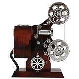 Caja de música Antigua Caja de Almacenamiento de joyería de proyector de película de la Vendimia Caja de Almacenamiento de joyería con Espejo de Maquillaje Adorno de Escritorio