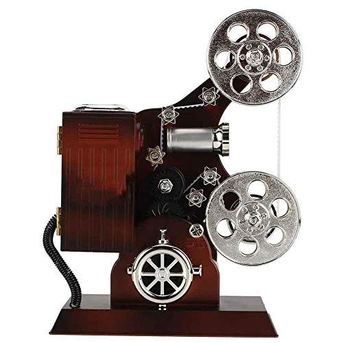 Antike Spieluhr Vintage Filmprojektor Schmuck Spieluhren Schmuck Aufbewahrungskoffer mit Kosmetikspiegel Desktop Ornament
