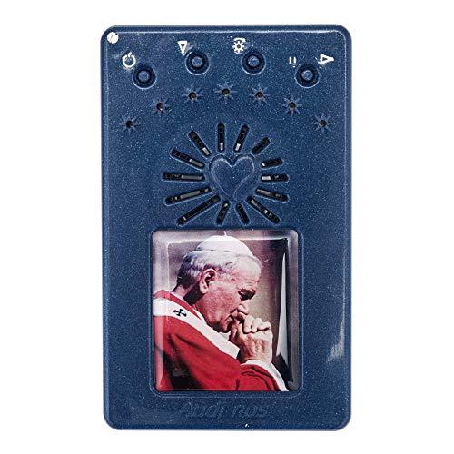 Rosario Electr?Nico Azul Juan Pablo II Corona, con Manto Rojo
