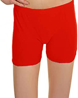 21FASHION Girls Microfiber Neon Red Hot Pants Kids Fancy Stretchy Halloween Party Wear Shorts