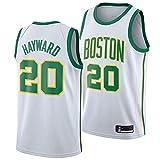 LITBIT Baloncesto para Hombres NBA Jersey Boston Celtics 20# Hayward City Edition 2021 Transpirable Quick Secking Vestima sin Mangas Top para Deportes,Blanco,S