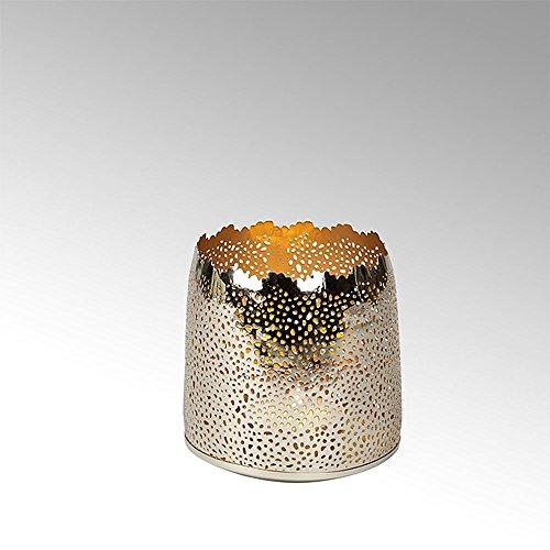 Lambert - Windlicht, Teelichthalter - SONAM - rund -groß - vernickelt - Gold - Ø 12,5 cm - Höhe 12,5 cm