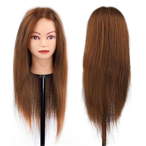 Besmall - Testa da acconciare, manichino di esercizio per acconciature, 100% capelli naturali, per studio professionale in cosmetologia, 66cm