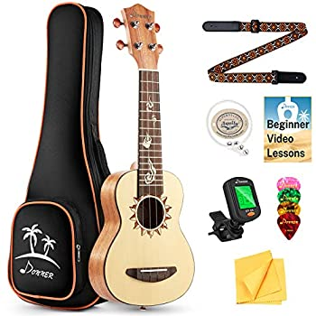 Donner Soprano Ukulele Spruce DUS-3 21 inch with Ukulele Set Strap Nylon String Tuner review