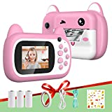 Relohas 1080P Instant Print Camera, Kids Digital Instant Camera with Print Paper, Cartoon Sticker, Double Sided Tape,Lanyard,16G Micro Card, Video Camcorder, Creative Camera for Boys and Girls (Pink)