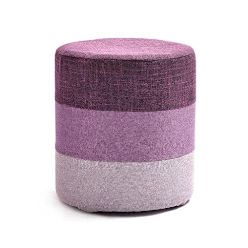Cadre en bois massif de haute qualité en bois pour tabouret de chaussure haute éponge élastique tabouret amovible et lavable en tissu (Color : Purple)