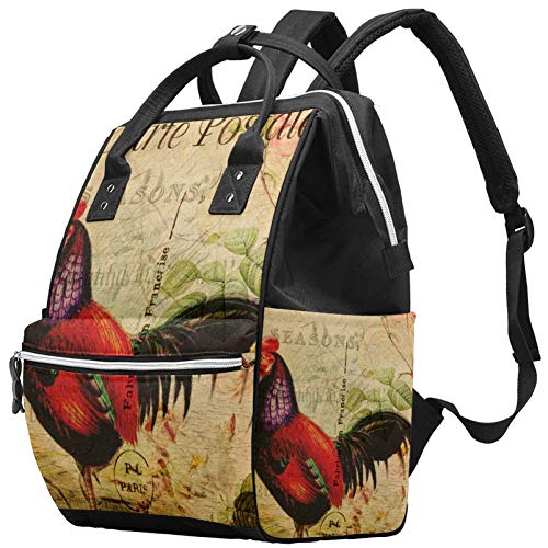 Grand sac à langer multifonction pour bébé, sac à dos, sac à dos, sac à dos de voyage pour maman et papa, carte postale rétro coq