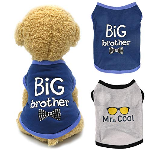 Dogs Shirt Pet Clothes, Puppy Clothing 2 Pack Brothers Printed Vest T-Shirt Cat Apparel Doggy Breathable Sweatshirt Outfits for Small Medium Large Dogs Boy Cool Tee Tank Top (Black+Gray, Large)