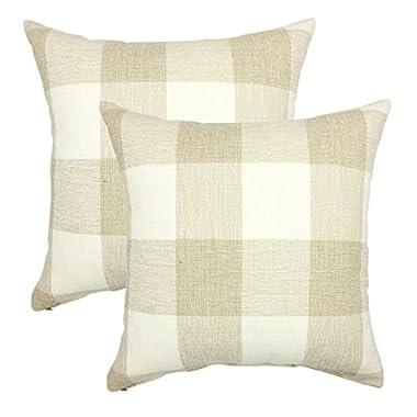 YOUR SMILE Retro Farmhouse Tartan Checkers Plaid Cotton Linen Decorative Throw Pillow Case Cushion Cover Pillowcase for Sofa 18 x 18 Inch, Set of 2, Beige/White