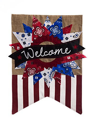 Patriotic Banner Welcome Garden Flag