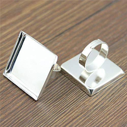 WANM Plaza 5pcs Ajustable configuración de Anillo de Oro Rosade Orode Bronce AntiguoBrillante de 4 Colores Fit 20mm 25mm de Cristal Cuadrados Cabujones