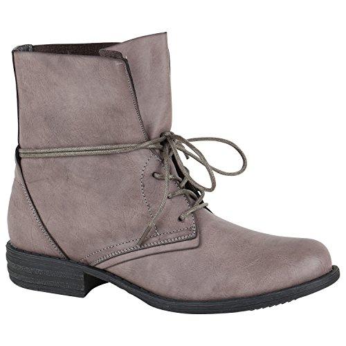 Damen Schnürstiefeletten Leicht Gefüttert Stiefeletten Profilsohle Schuhe 150250 Grau Schnürung 37 Flandell