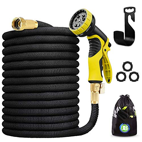 J&B XpandaHose 75ft Water Garden Hose with Holder - Heavy Duty Triple Layered Latex Core and Free 10...