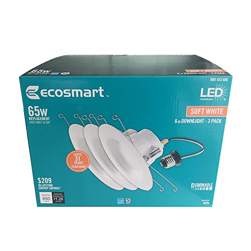EcoSmart DL-N34A11FR1-27 5 in. and 6 in. White Integrated LED Recessed Trim 3PK