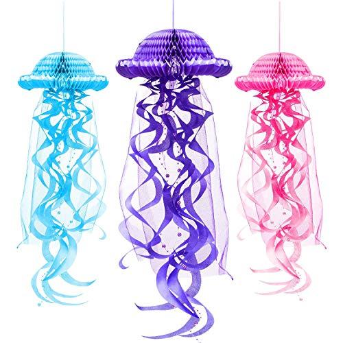 3 Piezas Decoración de fiesta de cumpleaños de sirena, farol de medusa de tejido de panal de abeja, decoración para colgar para niñas, suministros de fiesta de cumpleaños