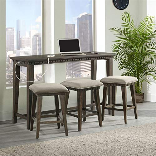 BOWERY HILL Steele Multipurpose Home Bar Living Room Sofa Table Set with 3 Upholstered Stools in Smokey Walnut and Light Gray Fabric
