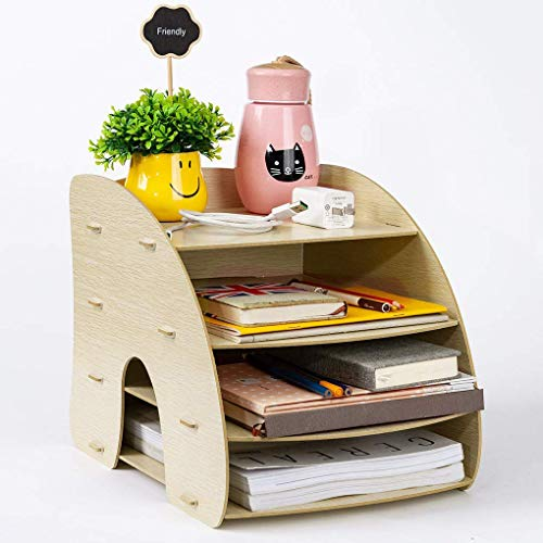 Briefablage A4 Briefkorb Holz Zeitschriftensammler Ablage in Weiß Ablagekorb mit 6 Fächer CD-Ständer Schreibtisch Organizer für Magazin und Umschlag