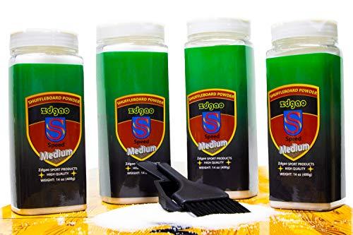 Shuffleboard Wax - Shuffleboard Sand 4 Pack with Mini Brush and Dustpan Set (4 x 14oz) (Medium Speed)