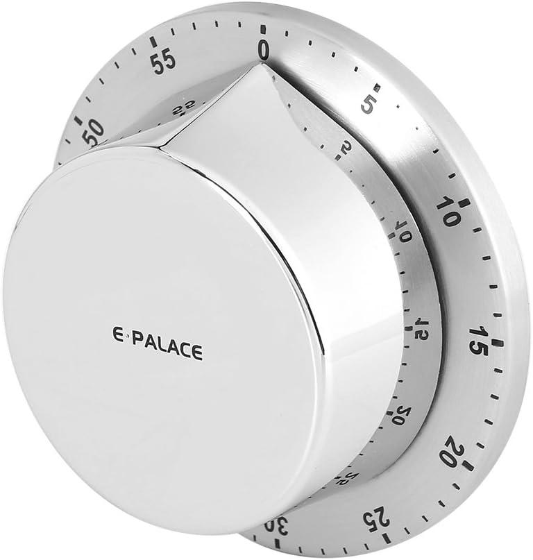 Zerodis Temporizador mec/ánico manual de 1 hora para cocina con base magn/ética plata