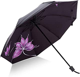 HappyGo Tri-fold Folding kids Umbrella Romantic Cherry Transparent Umbrella Windproof Pink 8Ribs