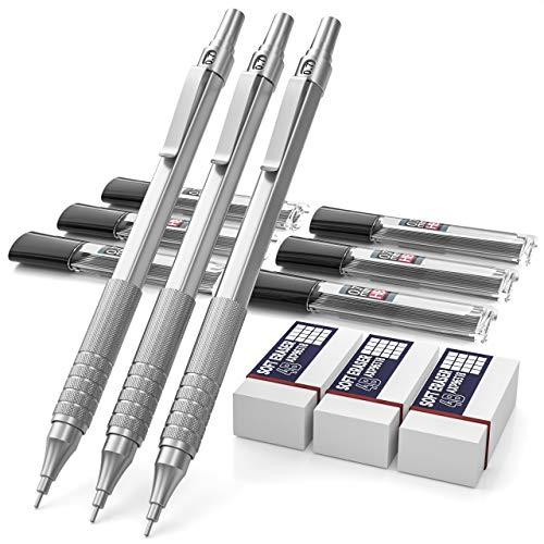 Nicpro 12 PCS Mechanical Pencils Set, Metal Automatic Drafting Pencil 3 PCS 0.7 mm Mechanical Pencil With 6 Tubes HB Pencil Leads And 3 Erasers For Writing Draft, Drawing, Sketch-Come With Case