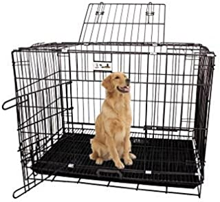 Jainsons Pet Products Black Cage/Crate/Kennel with Removable Tray for Dogs/Cats, 36 inch, Set of 1